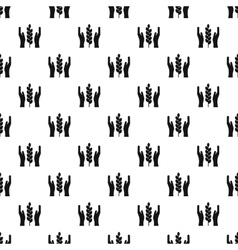 Hands and ear of wheat pattern simple style vector
