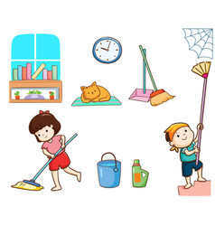 Happy kids cleaning the house vector