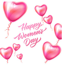 happy womens day lettering 8 march balloon vector image
