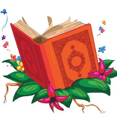 Holy book on leaves surrounded with flowers vector