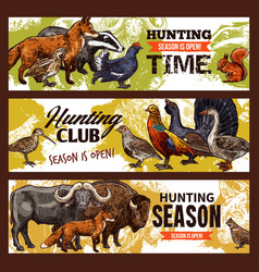 hunting sport banners animals and birds vector image