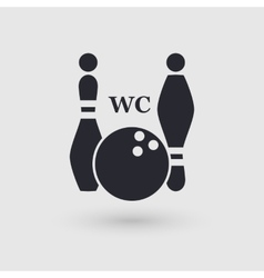 Icon bowling Public convenience WC Pictogram vector image