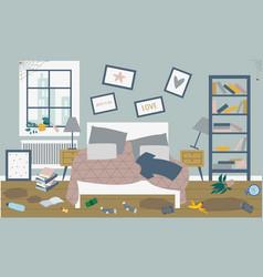 Interior a dirty uncomfortable bedroom a vector