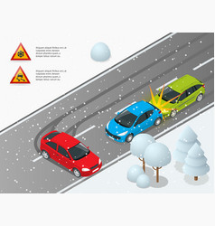 isometric winter slippery road car accident the vector image