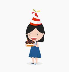 kid girl holding birthday cake vector image