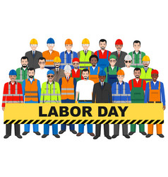 labor day group worker builder and engineer vector image