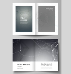 Layout of two a4 format cover mockups vector