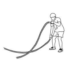 Man with battle rope doing exercise vector