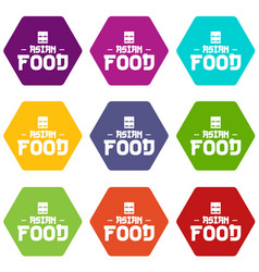 Menu asian food icons set 9 vector