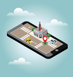 Mobile searching looking for bar or wine shop vector