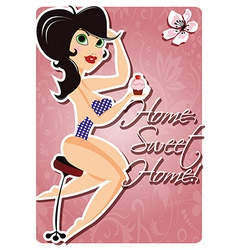 Motivation poster with pin up girl and message vector image