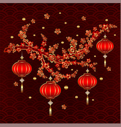 new year red lantern on colorful background vector image