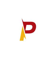 p letter cut logo vector image
