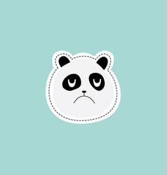 Panda face with unhappy expression sticker design vector