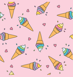 Pastel ice cream seamless pattern with cute hearts vector