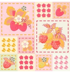 Patchwork background with strawberries and vector image