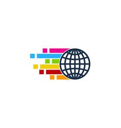 pixel art globe logo icon design vector image