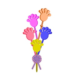 Plastic Hand Clap Toy with A Stripe Ribbon vector image