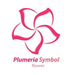 Plumeria frangipani flower symbol vector image
