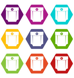 pocket design icon set color hexahedron vector image