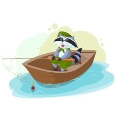Raccoon in boat fishing Scout fisherman vector image