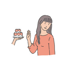 redhead woman refuses to eat piece of cake vector image