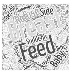 Refusal to breast feed word cloud concept vector