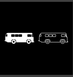 retro bus icon set white color flat style simple vector image