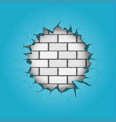 round hole in blue wall vector image