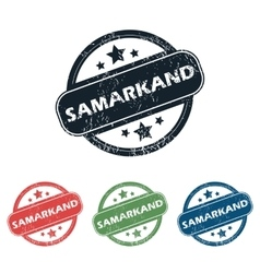 Round Samarkand city stamp set vector