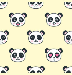 Seamless pattern with the cute panda faces vector