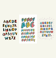 Set of hand drawn alphabets three english abc vector
