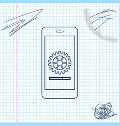 smartphone update process with gearbox progress vector image