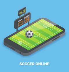 soccer online concept flat isometric vector image