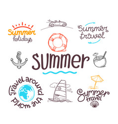 summer travel doodle style elements labels vector image