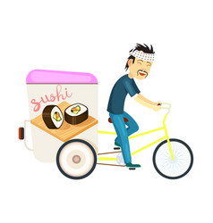 Sushi roll delivery icon with asian courier man vector