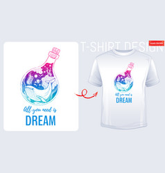 trendy t-shirt print design whale in hand drawn vector image