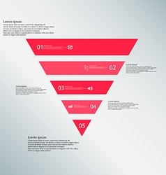 Triangle template consists of five red parts on vector image