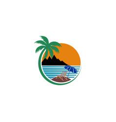 Tropical beach lounge chair deck chair and beach vector