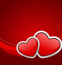 Two red glossy hearts vector