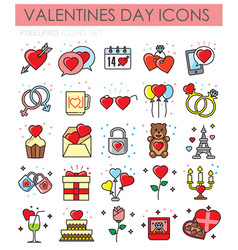valentiness day color outline icons set on white vector image