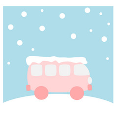 Van covered with snow - winter flat icon set vector