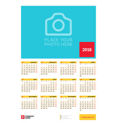 Wall yearly calendar poster for 2018 year design vector
