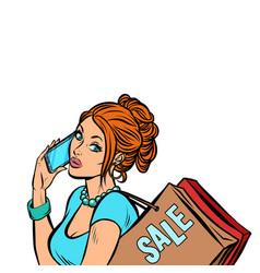 Woman buyer talking on phone vector