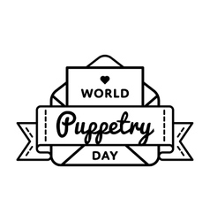 World Puppetry day greeting emblem vector image