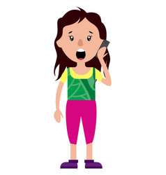 worried woman talking on a phone on white vector image