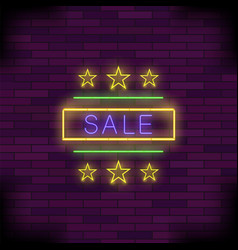yellow neon sale sign with round frame and stars vector image