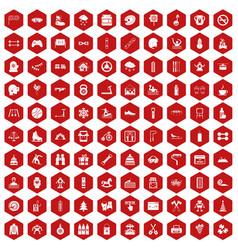 100 children activities icons hexagon red vector image vector image