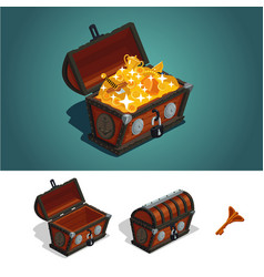 ancient treasure chest with gold game design vector image vector image