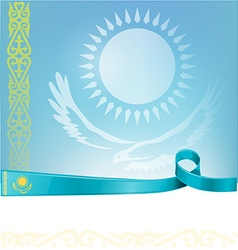 kazakhstan ribbon flag on background vector image vector image